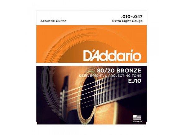 Conjunto de cuerdas .010 D'ADDARIO Jogo Cordas Bronze Guitarra Acústica  EJ10 .010-.047