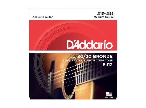 Conjunto de cuerdas .013 D´Addario Jogo Cordas Guitarra Acústica Bronze Daddario EJ12 013-056