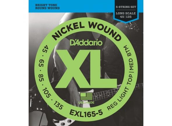 Juego de cuerdas .045 para bajo eléctrico de 5 cuerdas D´Addario EXL165-5