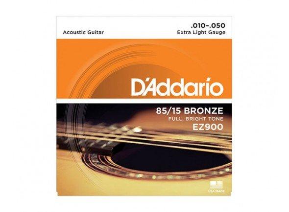 Conjunto de cuerdas .010 D´Addario Jogo Cordas Aço Bronze 010 Guitarra Acústica EZ900 .010-.050