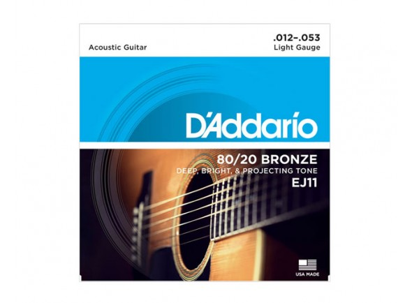 Conjunto de cuerdas .012 D´Addario Jogo Cordas 012 Guitarra Acústica EJ11 012-053