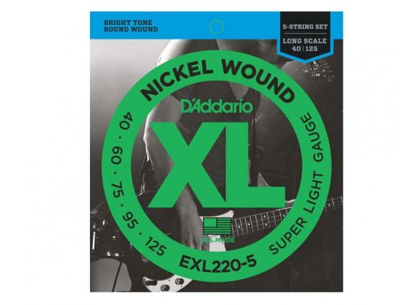 Juego de cuerdas .040 para bajo eléctrico de 5 cuerdas D´Addario Jogo de 5 Cordas Baixo Eléctrico EXL220-5