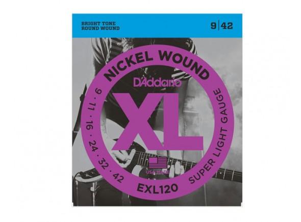 Juego de cuerdas .009 D´Addario Jogo de Cordas EXL-120 009 para Guitarra Eléctrica .009-.042