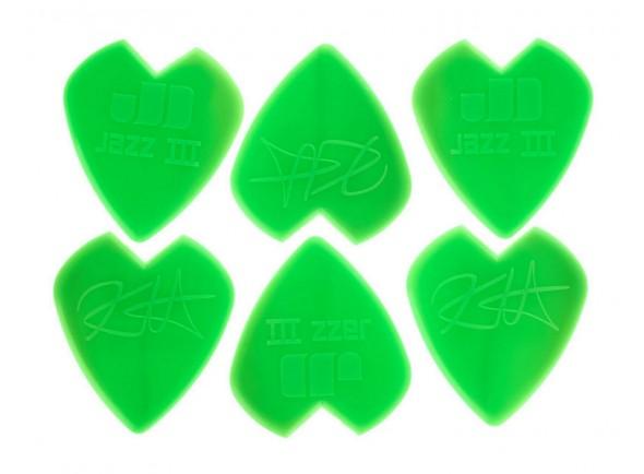 Púas de guitarra Dunlop Signature Jim Dunlop Jazz III 1,38mm Kirk Hammett verde 6 unidades