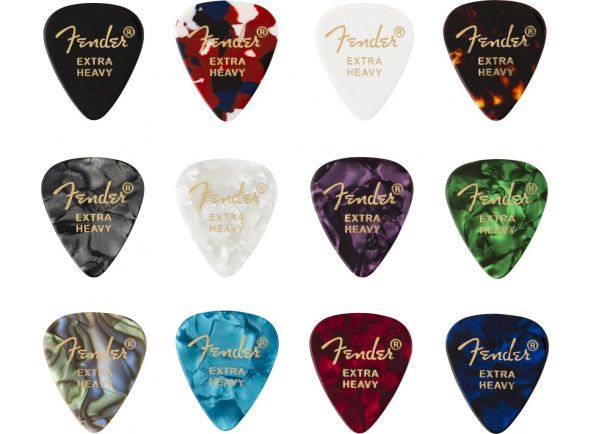 Púas de guitarra Fender 351 Shape Celluloid Medley Extra Heavy 12 Pack