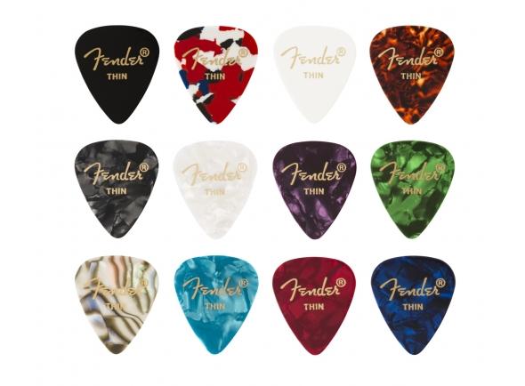 Púas de guitarra Fender 351 Shape Celluloid Medley Thin 12 Pack