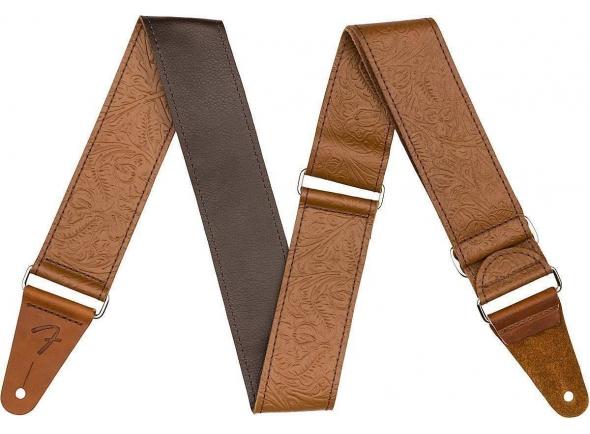 Cinturón de cuero Fender Tooled Leather Guitar Strap 2'' Brown