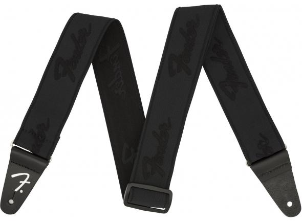 Correa de nylon Fender Weightless Running Logo Guitar Strap - Black/Black