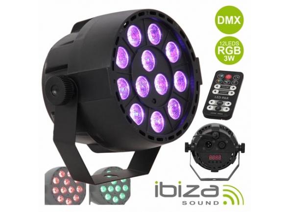 Proyector LED PAR Ibiza PROJETOR PAR C/ 12 LEDS RGB 3W ABS COMANDO MIC DMX