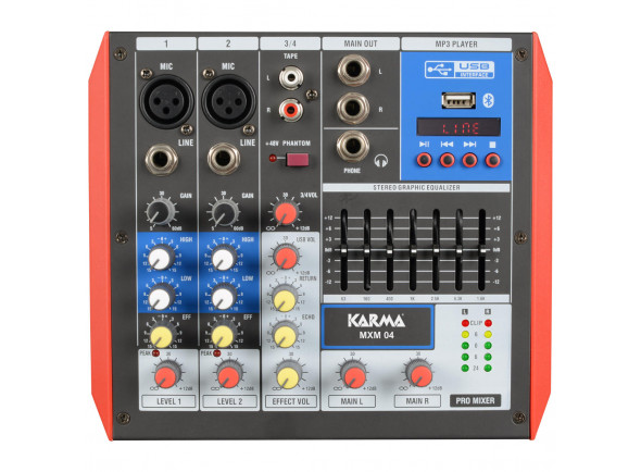 Mezclador analógico Karma  4 Canais USB/Bluetooth KM-MXM04