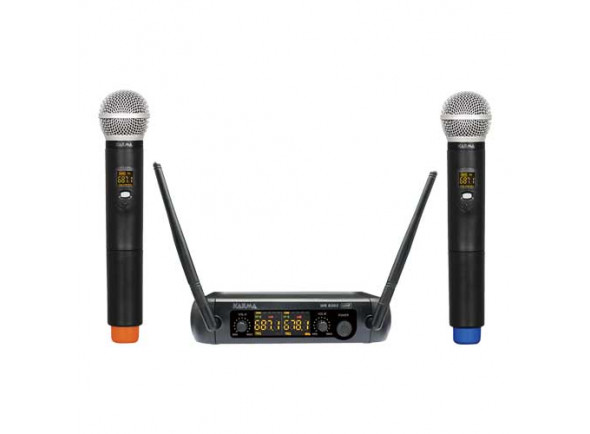 Sistema inalámbrico con micrófono de mano. Karma  Microfone Mão s/ Fios (2 unid) + Receptor UHF