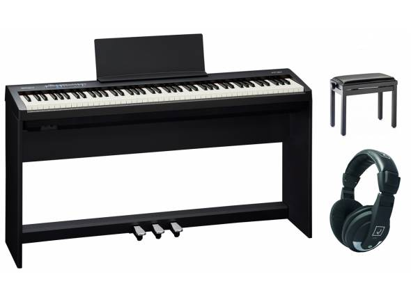 Pianos digitales para muebles Roland FP-30X BK Home Bundle